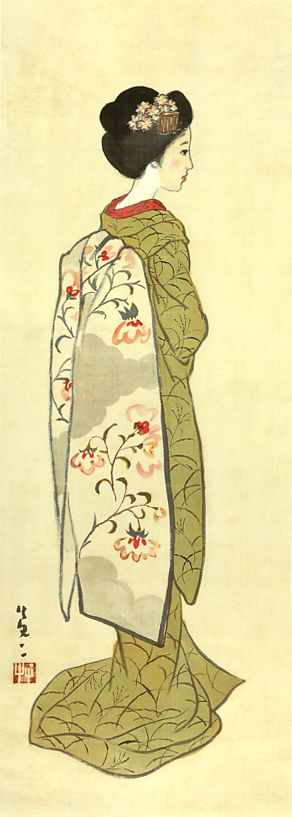 Japan antique art. illustrator / Yumeji Takehisa. kimono beauty lady. taisyo period .