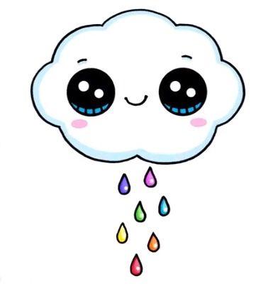 Il Est Heureux Ou Il Pleure Ce Petit Nuage Kawaii Kawaii In