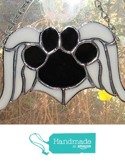 Black Dog Paw Print Memorial Angel Wings Handmade Sun