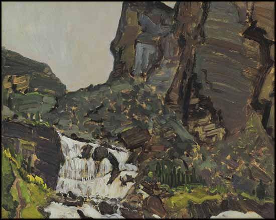 J.E.H. Macdonald - Mountain Stream 8.5 x 10.5 Oil on board (1929)