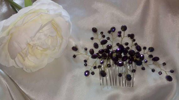 Check out this item in my Etsy shop https://www.etsy.com/uk/listing/532899654/dark-purple-crystal-haircomb-bridesmaid