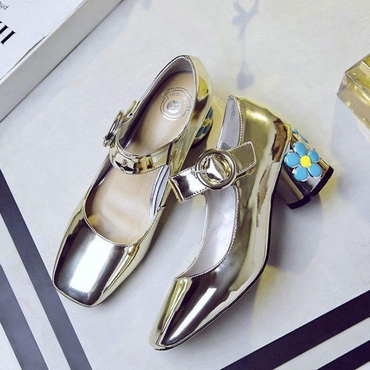 Womens Elegant Metal Color Buckle Strap Block High Heels Patent Leather Shoes