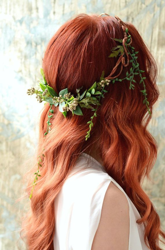 Goddess leaf crown, Woodland headpiece, Forest crown, Leaf circlet, Rustic wedding, Hair accessories