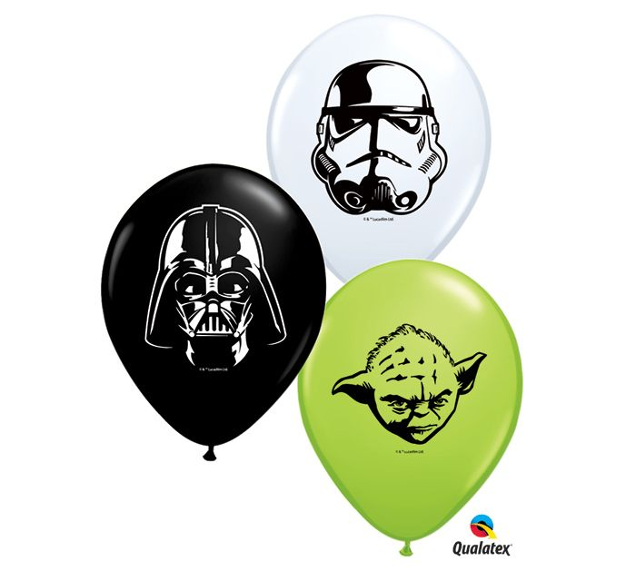 """Incorporate these fun sized 5"""" balloons with Star Wars Character Faces of a Stormtropper, Darth Vader, and Yoda at your next party! #burtonandburton"""