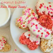 Heart Shaped Peanut Butter Rice Krispie Treats. Valentine treats for the grandkids.