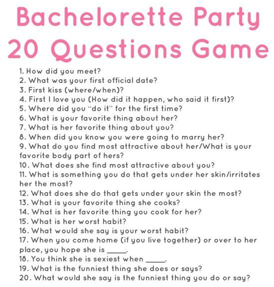 20 questions for a bachelorette party. So fun! via Meals & Moves.: