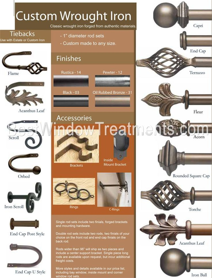 Custom 1 inch diameter wrought iron drapery rods that can go extra long (over 150 inches) with coordinating tie-backs - double bracket rods, by-pass or c-rings for full draw on rods over 6 feet length.  For use in residential and commercial use (outdoor curtain rods available)