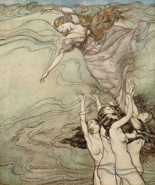 The water nymphs, that in the bottom played, Held up their pearled wrists and took her in. An Arthur Rackham illustration for Comus.
