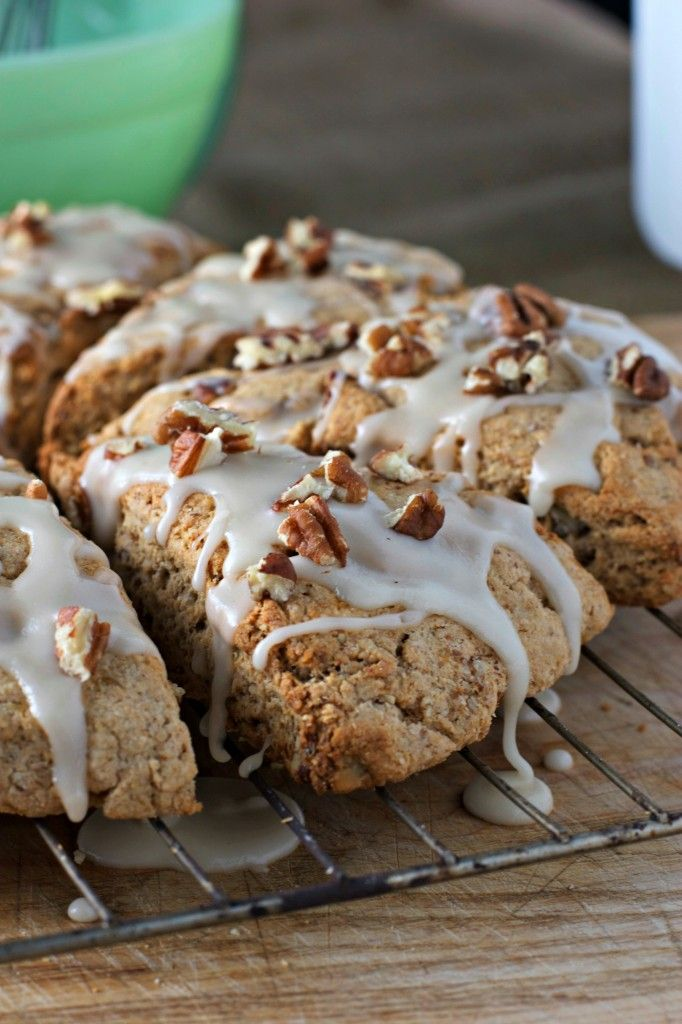 Vegan Banana Nut Whole Grain Scones.  These look so delicious!  The Maple Glaze seals the deal for me!  Enjoy!