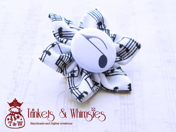 Musical Note Kanzashi Brooch Pin by TrinketsAndWhimsies on Etsy, $9.00