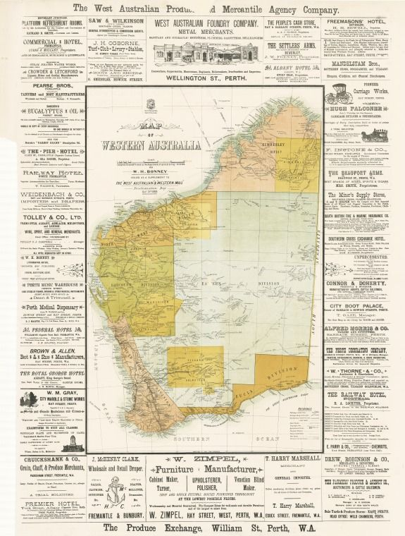 Map of Western Australia, 1893. Includes advertisements in margins. Issued as a supplement to the West Australian, & Western mail, Proclamation Day, Octr. 21st. 1893. https://encore.slwa.wa.gov.au/iii/encore/record/C__Rb1861266