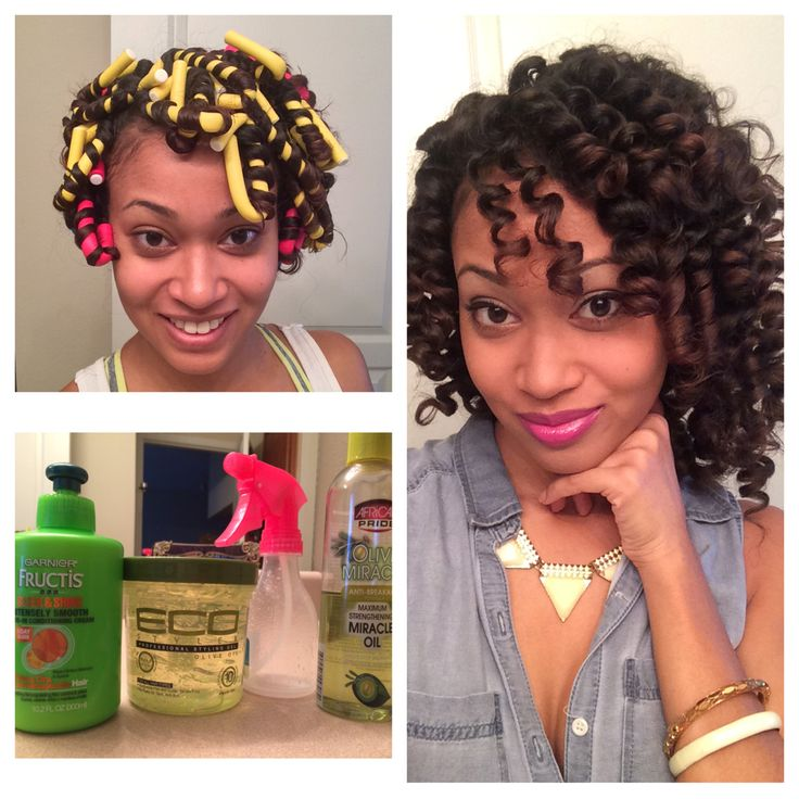 New products. Flexi-rod set on damp hair. I mixed leave in conditioner, water, and olive oil in a water bottle. I sprayed my hair and rolled starting at the scalp. The gel was for my ends! Dryer time: 2 hours.