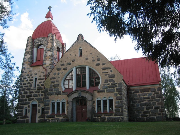 A Beautiful Art Nouveau Church in Vuolijoki, Finland. Build in 1905-1906.