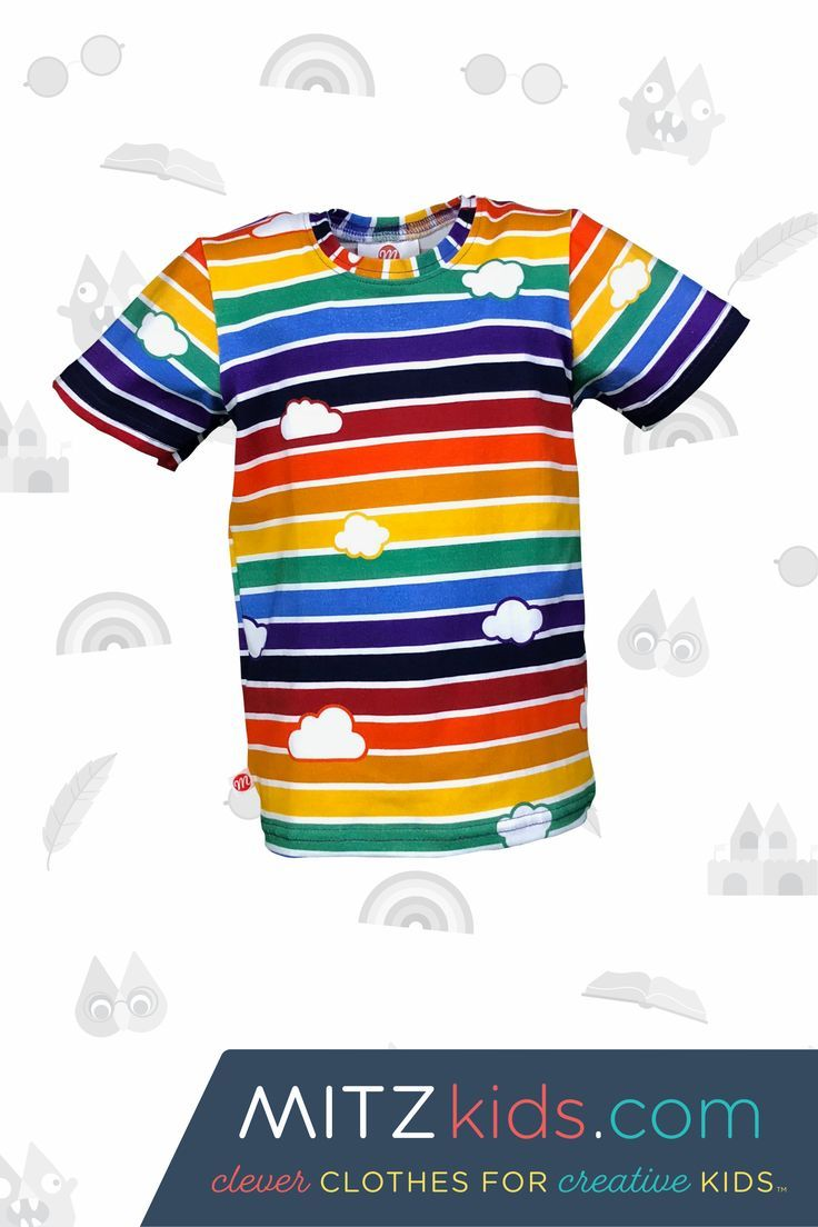Retro Rainbow T-Shirt with Clouds | Mitz Kids The gender neutral Rainbow kids tshirt is designed to support children's developmental learning and early literacy development. The Rainbow kids tshirt is for babies, infants, toddlers and children.  It's perfect for a kids tea party, birthday party outfit, casual play clothes, summer kids clothes or for a play date. #babyclothes #toddlerfashion #kidsfashion #kidstees #kidsclothes #genderneutral