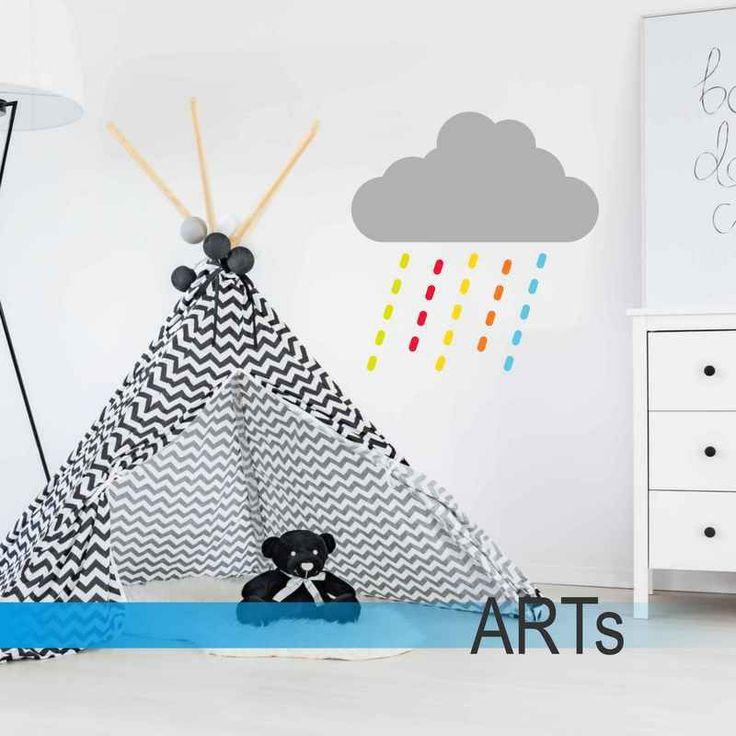 (3611f)  #Nálepka na stenu - Dúhový #dážď #artsablony
