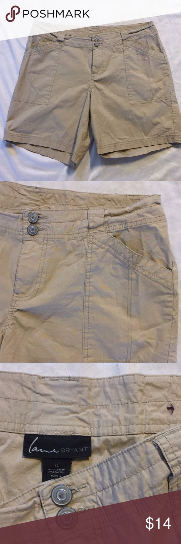 Lane Bryant Cargo Shorts Layne Bryant cargo shorts.Beige in color.Button and zipper front.Loops For belt.Four pockets.Very good condition. Lane Bryant Shorts Cargos