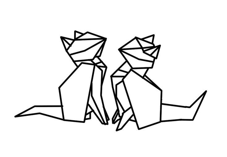 Geometric cats illustration for washi tape