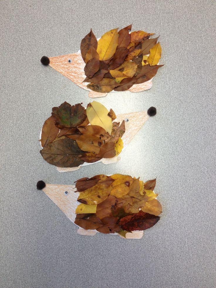 Cute fall kids craft! Leaf porcupines!