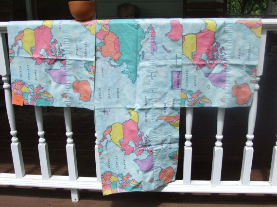 Valances Printed with Map of the World by EcruElephant on Etsy