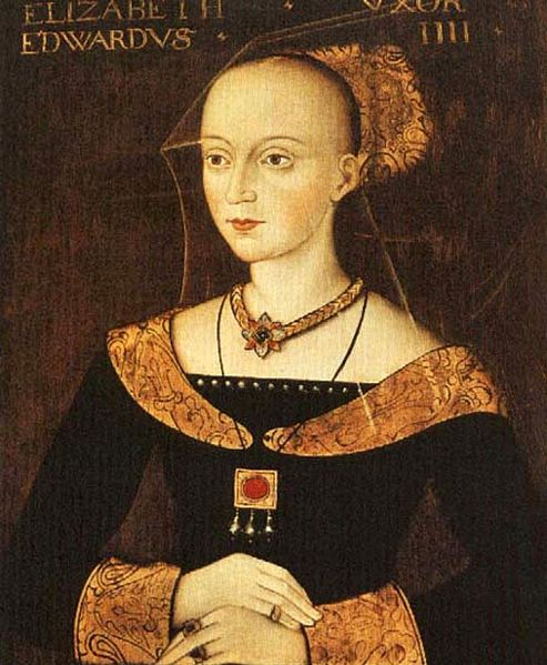Elizabeth Woodville (also spelled Wydeville or Widvile; c. 1437[1] – 8 June 1492) was Queen consort of England as the spouse of King Edward IV from 1464 until his death in 1483. Elizabeth was a key figure in the series of dynastic civil wars known as the Wars of the Roses. Her first husband, Sir John Grey of Groby was killed at the Second Battle of St Albans. Her children included the Princes in the Tower and Elizabeth of York; the latter made her the maternal grandmother of Henry VIII.