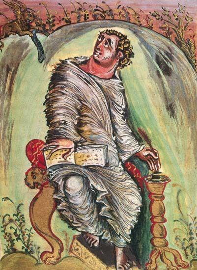 Feuillet de l'évangéliaire d'Ebbon, 816-835, Reims.  évangéliste saint Marc