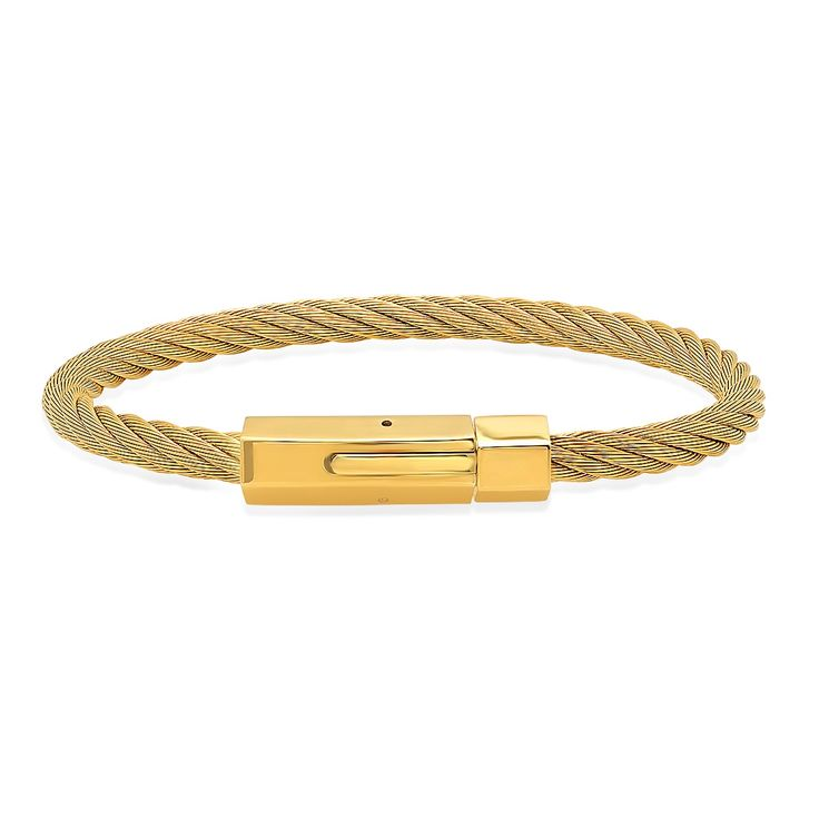 Steeltime Gold Plated Cable Wire Bracelet