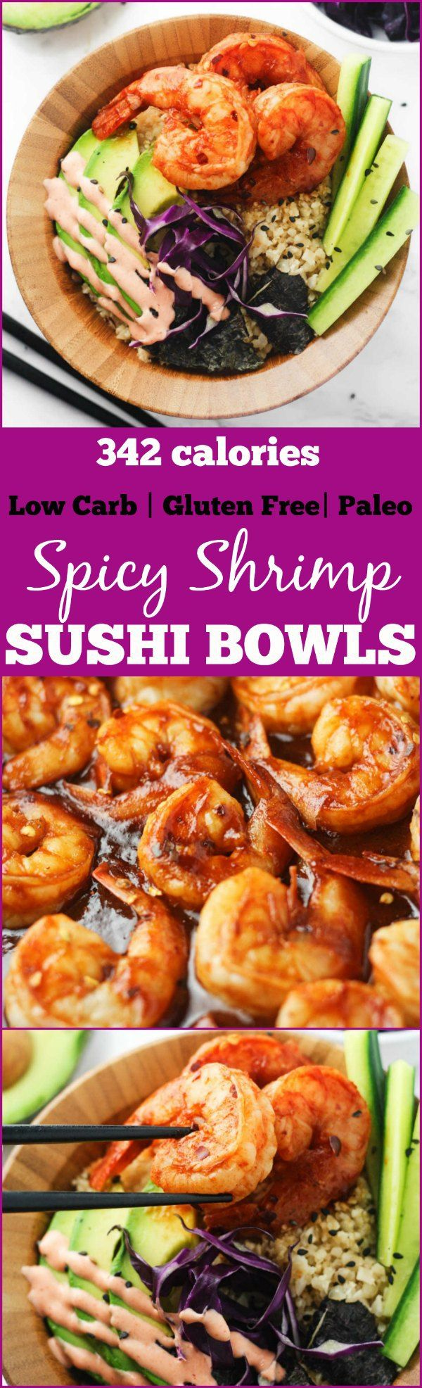 Low Carb Spicy Shrimp Sushi Bowls - delicious, gluten free and paleo sushi bowls made with cauliflower rice and packed with flavor! Totally guilt free . www.itscheatdayeveryday.com