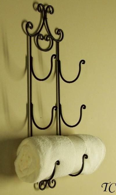 Astrid Wrought Iron Wall Wine Rack Tuscan Towel Holder