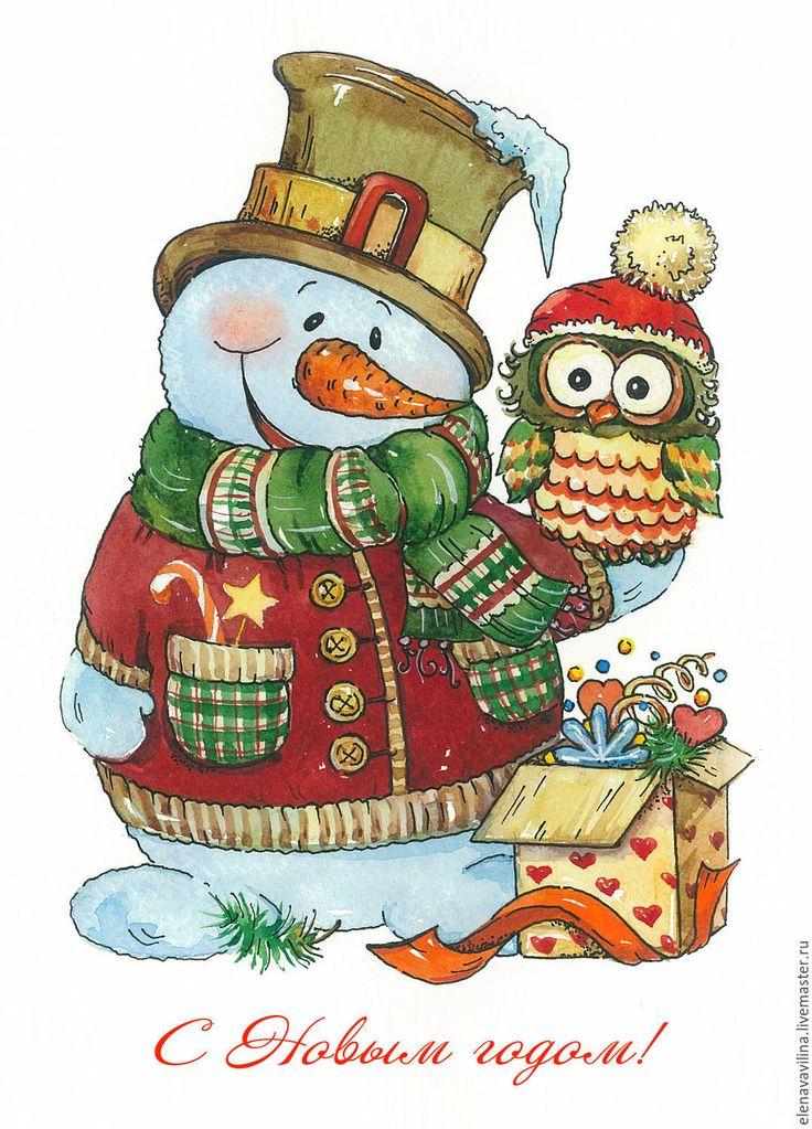 Новогодний снеговик картинки нарисованные, день