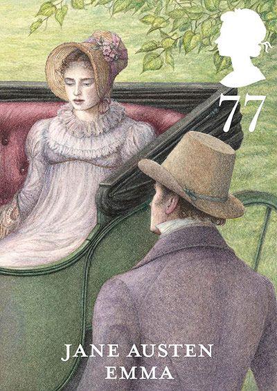 """Selo comemorativo dos 200 anos de """"Orgulho e preconceito"""" de Jane Austen. São 6 modelos, um para cada romance da escritora. Este é o de """"Emma""""."""