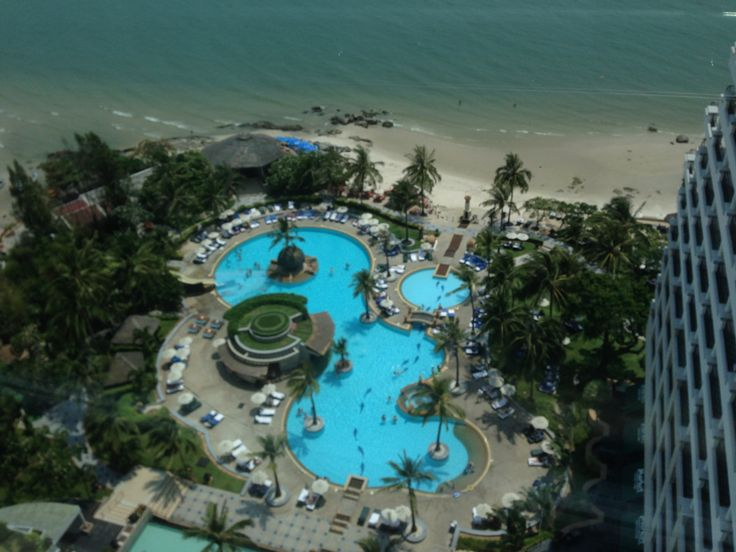 View from the glass elevator at the Hilton Hua Hin Resort in Thailand