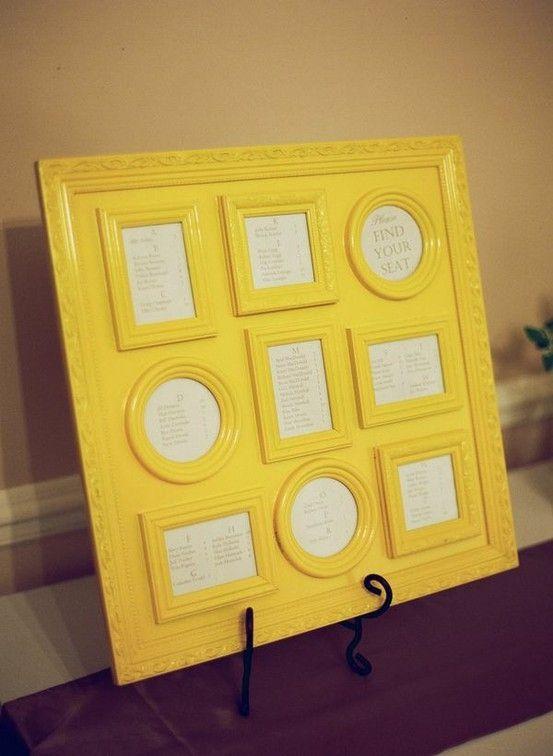framed seating chart, Alphabetically arranged