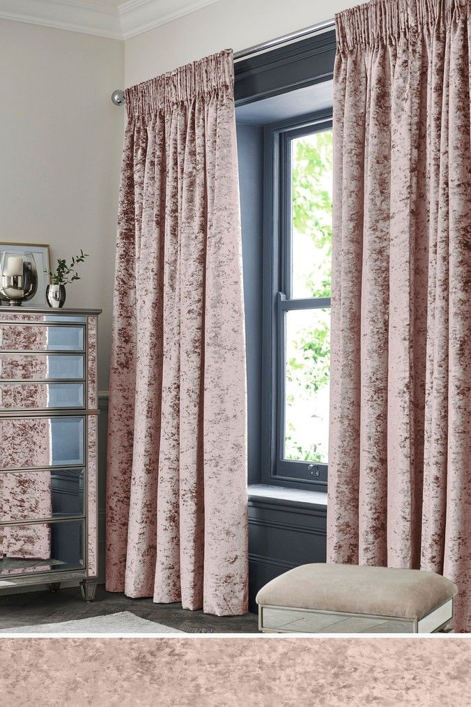 Next Crushed Velvet Pencil Pleat Lined Curtains Pink Drapes