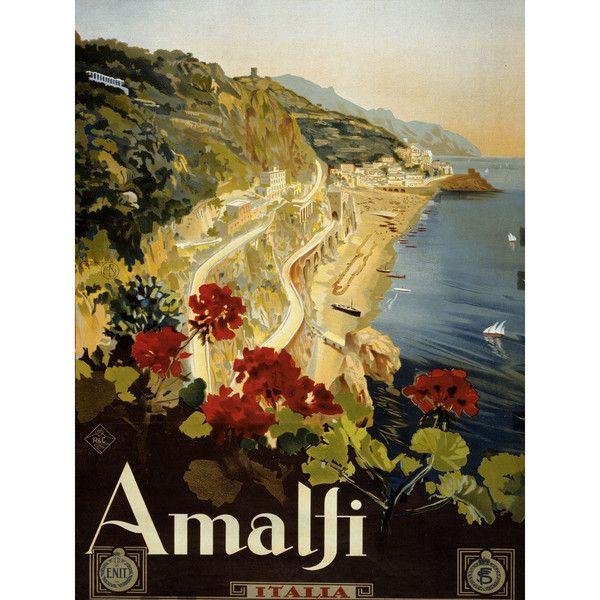 Oriental Furniture Coast Of Amalfi Vintage Travel Art Canvas Art ($40) ❤ liked on Polyvore featuring home, home decor, wall art, canvas home decor and canvas wall art