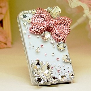 New Bling Crystal Sparkle Big Pink Bow Big Rhinestones iPhone 4S Case
