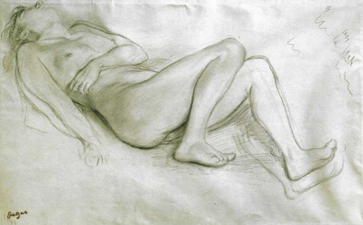 Edgar Degas, Drawing for 'The Misfortunes of the City of Orleans, Nude Woman', 1865. Black pencil on paper