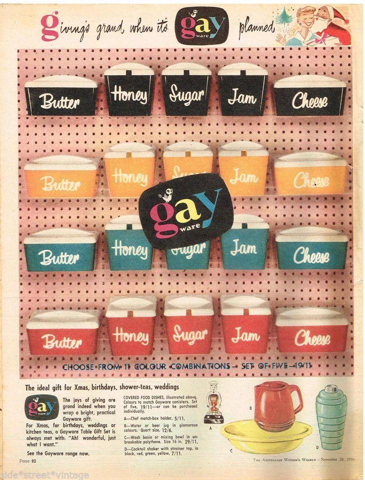 Gayware Ad Retro Kitchenalia, Australian vintage advertising, 1956 Original Gayware Ad.