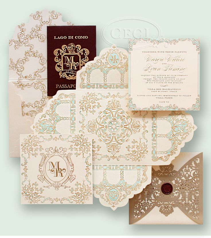 Luxury Wedding Invitations and Passport Save-the-Date by Ceci New York. #passport #italy #destinationwedding #wedding #invitations #ornate #gold #teal #blue #burgundy #waxseal #monogram #baroque #cecinewyork #cecijohnson #unique #lasercut #letterpress #calligraphy