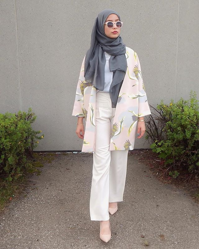 pink floral kimono + white shirt + loose pants + gray scarf/hijab + nude pointed…