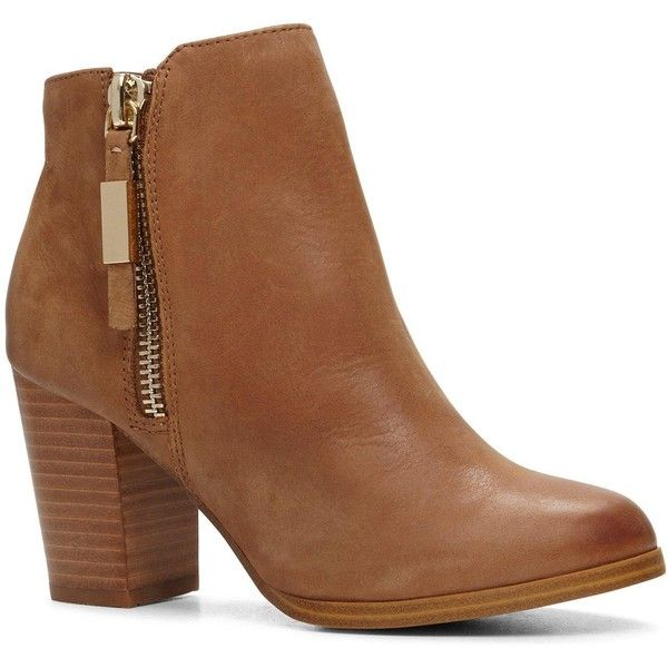 Aldo Mathia Block Heel City Ankle Boot (£63) ❤ liked on Polyvore featuring shoes, boots, ankle booties, leather ankle booties, ankle boots, aldo boots, block heel booties and leather bootie