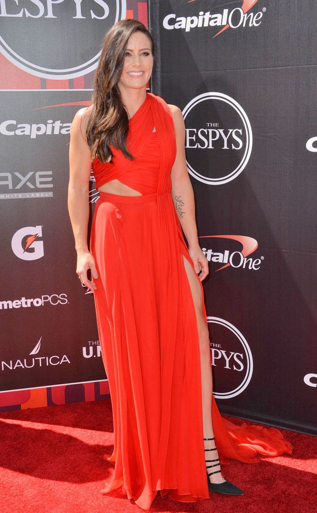 Ali Krieger from 2015 ESPY Awards Red Carpet Arrivals  Ow ow! The soccer stars' draped crimson gown is just too good.