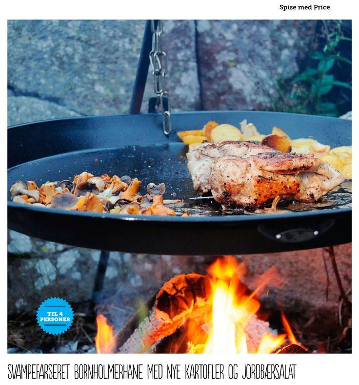Svampefarseret bornholmerhane med nye kartofler og jordbærsalat - opskrift af Brødrene Price for Silvan