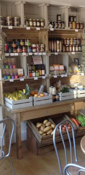 Community store shelving. Rustic timber crates.                                                                                                                                                     More