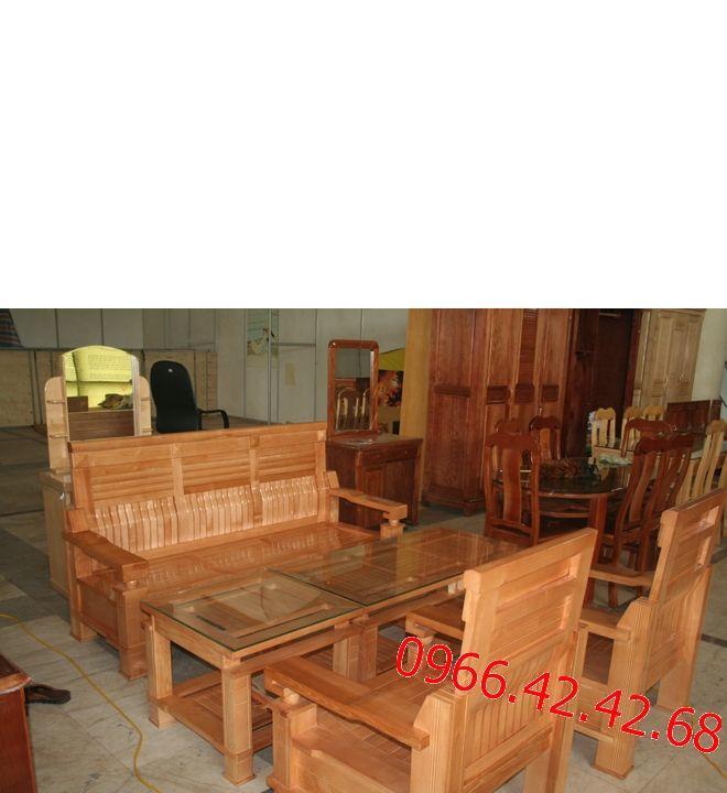 Chất liệu bộ bàn ghế phòng khách Salon gỗ sồi Nga Gỗ sồi Nga đã tẩm sấy, không cong vênh, không mối mọt; - Kích thước bộ bàn ghế phòng khách : Ghế băng dài  02 ghế đơn Bàn chính  Bàn phụ: - Màu sắc bàn ghế phòng khách Phun sơn gỗ PU cao cấp 03 lớp tạo độ bóng đẹp, tăng tuổi thọ cho gỗ, chống bám bụi và giảm trầy xước do va chạm.