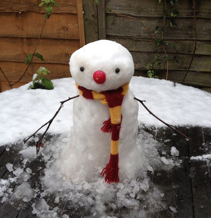 My snowman not yet smiling - see blog for details of the book