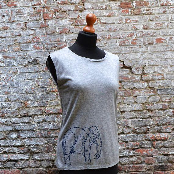 Elephant Grey Tanktop T shirt for women  Yoga Top T-shirt