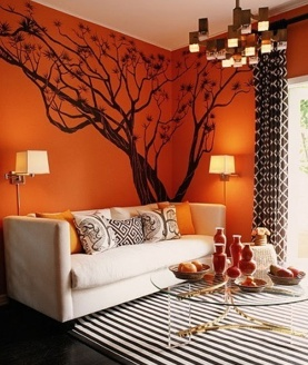 Wall tree decal....  perfect orange color, tree idea for african theme