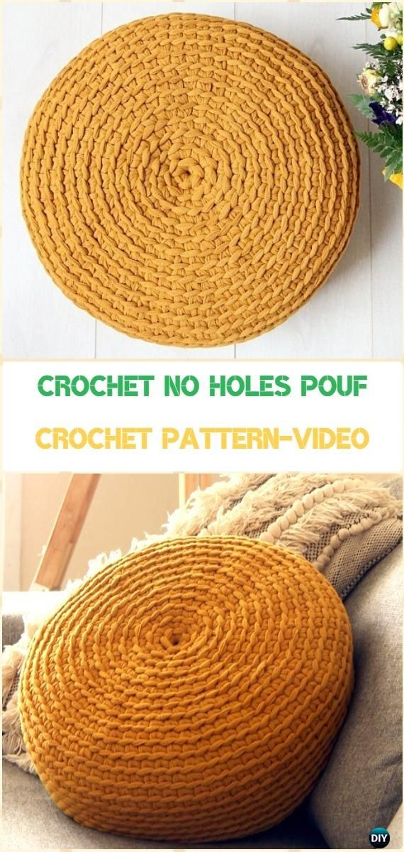Best 25 crochet furniture ideas on pinterest diy knitting tools ottoman furniture and diy - Crochet pouf ottoman pattern free ...