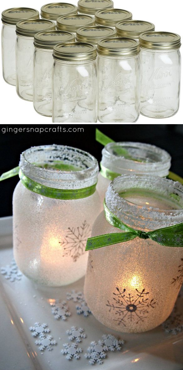 christmas mason jar luminaries winter decor pinterest