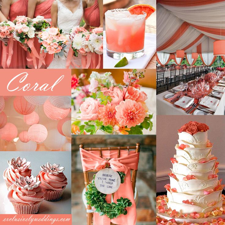 Coral Wedding Color - Coral is a spring and summer favorite. This pink-ish orange color works well with the addition of turquoise, yellow, white, and more!